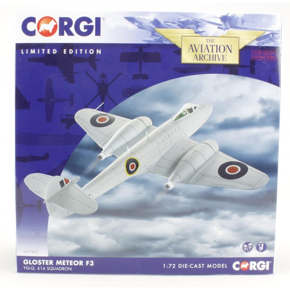 Corgi Aviation Archive Gloster Meteor F3 YQ-Q 616 Squadron RAF 1//72 Scale AA27402