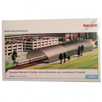 Herpa Wings Train Station Basic Set 16 Part Kit 1/500 Scale 520201