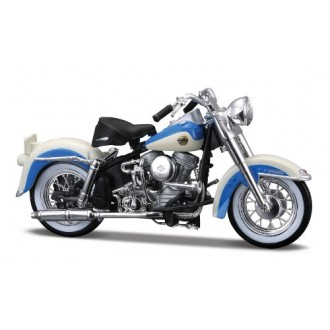 Maisto Harley Davidson 1958 FLH Duo Glide White and Blue 1/18 Scale