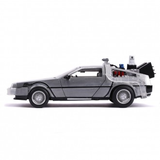 Jada Toys Delorean Time Machine Back To The Future 2 with Adjustable Hover Mode Wheels and Blue Lights - Batteries included BTTF II ~1:24 Scale 31468